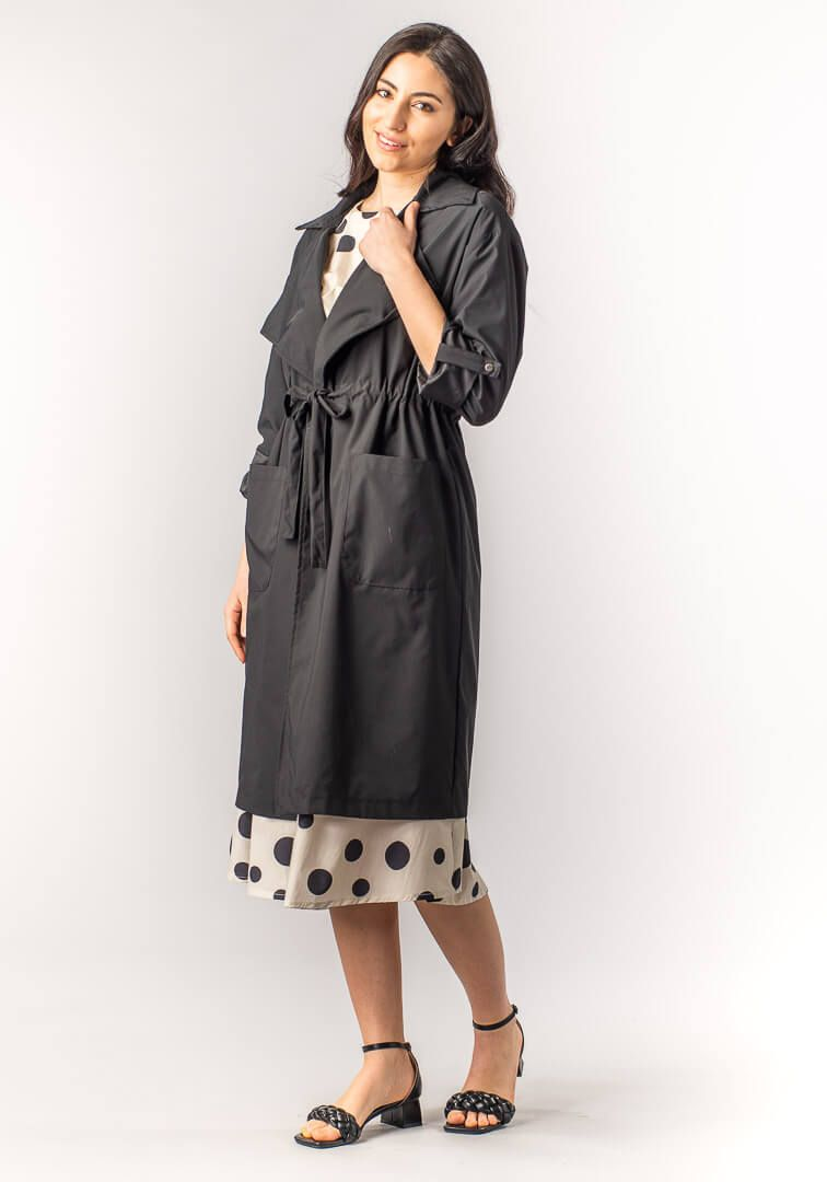 TRENCH LUNGO COULISSE Nero