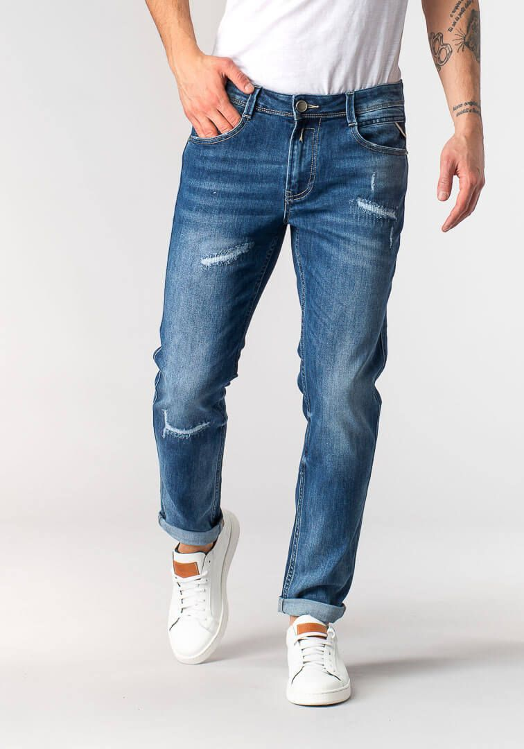 JEANS RECYCLED CON STRAPPI  Blu