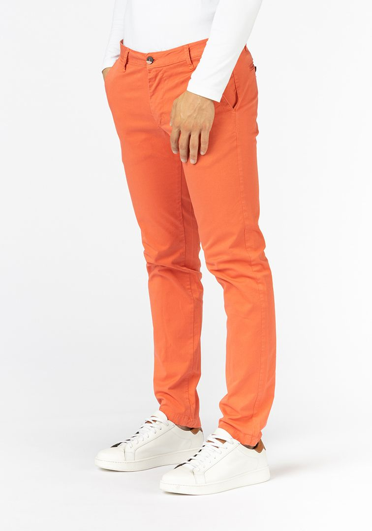 PANTA CHIN.GABARD.TAILORED FIT Rosso