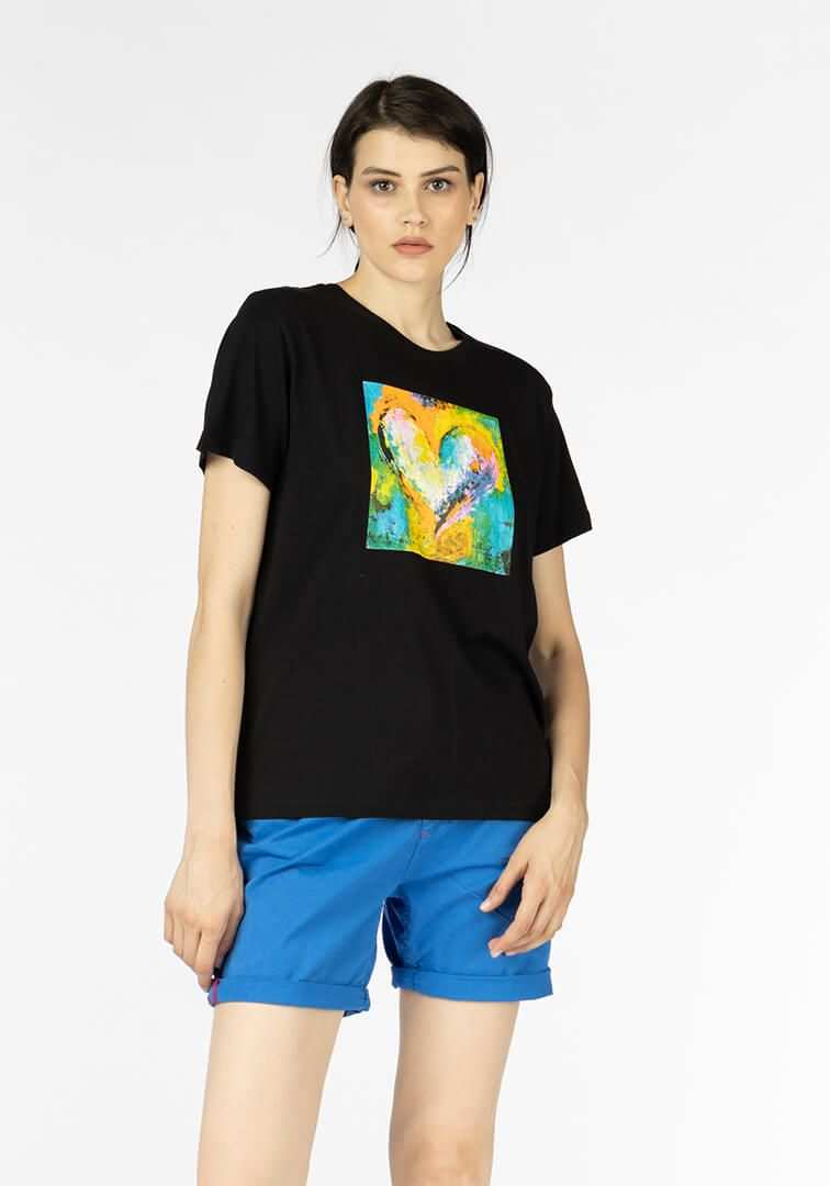 T SHIRT SCAL.ST.CUORE DIPINTO Nero